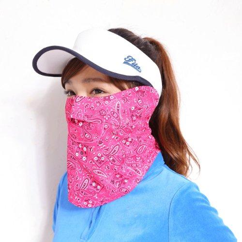 ホワイトビューティー 息苦しくない UVカットフェイスカバーC型 (ペイズリー柄ピンク)