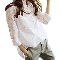 Le01w2XL ガレット デ ロワ (galette des Rois) シャツ ブラウス ナチュラル 長袖 カットワーク 着回し ホワイト チュニック レディース 花柄 刺繍 Le01 (06.2XL, ホワイト)