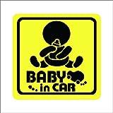 ノーブランド 黄 赤ちゃん&哺乳瓶 BABY in CAR シール ステッカー デカール