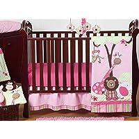 Sweet Jojo Designs 11-Piece Pink and Green Jungle Safari animal themed Baby Girl Bedding Crib Set Without Bumper [並行輸入品]