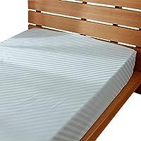 日本製 綿100% ホテル品質 サテン ベッド用ボックスシーツ ストライプ シングルサイズ オパールグリーン