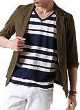 (アーケード) ARCADE メンズ 春 夏 綿麻 リネン 七分袖 テーラードジャケット M カーキ
