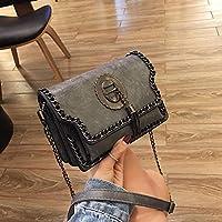 YangMi ハンドバッグ- ファッションボックスタイプ2019新しい女性のバッグショルダーバッグ野生のハンドバッグメッセンジャーバッグ (色 : Gray, サイズ さいず : 8x14x19.5cm)