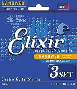 Elixir エリクサー エレキギター弦 NANOWEB Light .010-.046 #12052 3個セット 【国内正規品】