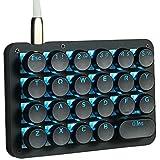 Koolertron片手キーボード メカニカルキーボード フルプログラム可能ゲーミングキーボード スタマイズ可能23キー マクロキー ラウンドキーキャップ付き片手小型キーボード (青軸 ブルー(ブラック))