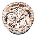 ピンクゴールド フラワーダブルフレア ボディピアス (サイズ)00ゲージ プラグ トンネル 埋め込み型 アンティーク ジルコニア 花 ホールピアス 人気 プレゼント 耳