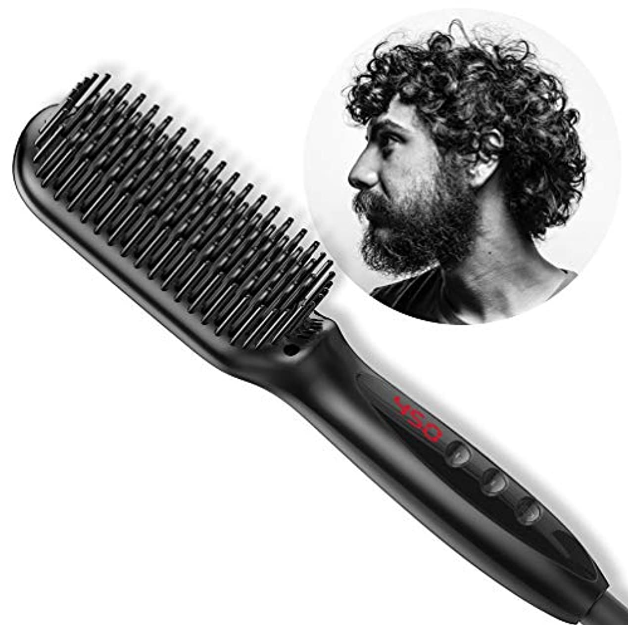意味のあるサンプル不規則な2で1ストレートナー櫛イオン髪ストレートブラシセラミック電気450F加熱LCDアンチスカルド男性&女性用