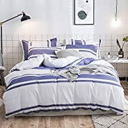 Merryfeel Quilt Cover Set,100% Cotton Woven Stripe Doona Cover Set-Blue Stripe Queen