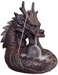 【Rurumiマーケット】不思議なお香 倒流香 用 香炉 ドラゴン お試しお香付き 流川香 陶器製 (ドラゴンB)