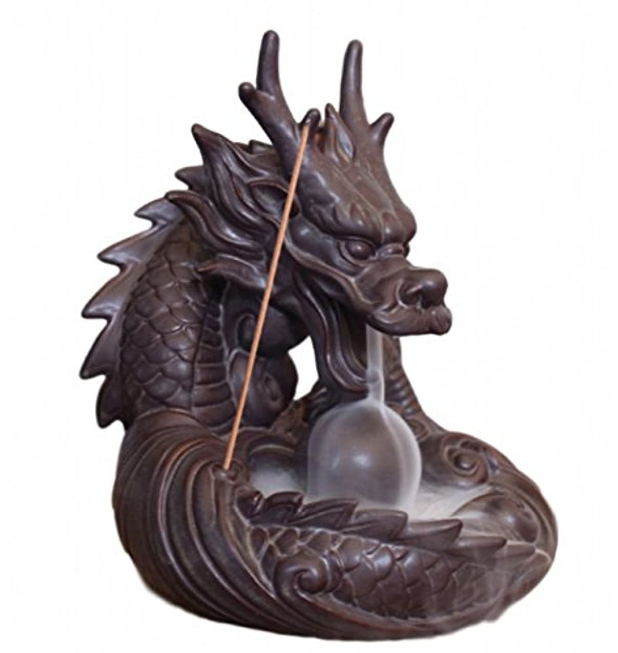 ベテラン小説批判的に【Rurumiマーケット】不思議なお香 倒流香 用 香炉 ドラゴン お試しお香付き 流川香 陶器製 (ドラゴンB)