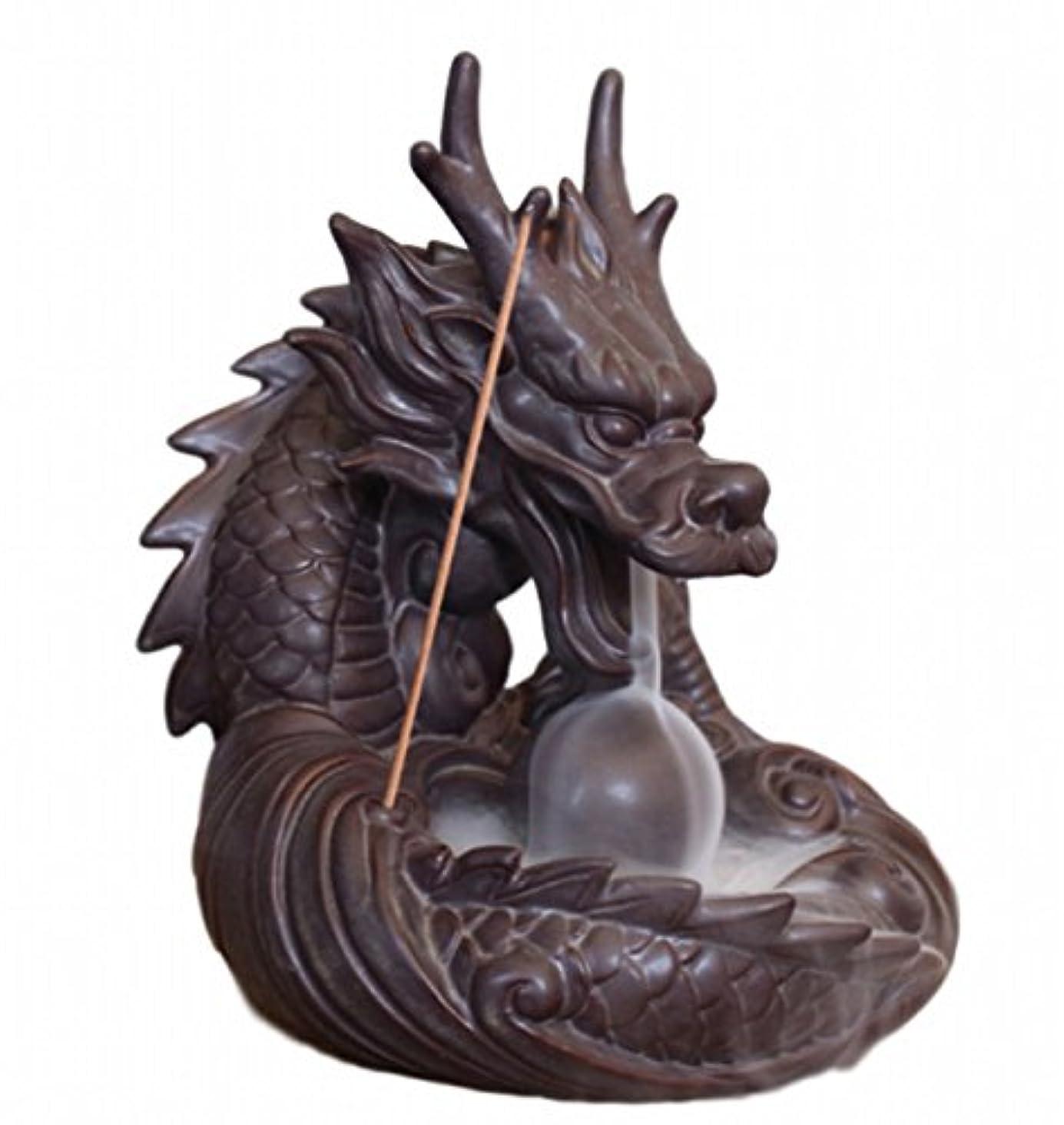 ひも融合議題【Rurumiマーケット】不思議なお香 倒流香 用 香炉 ドラゴン お試しお香付き 流川香 陶器製 (ドラゴンB)
