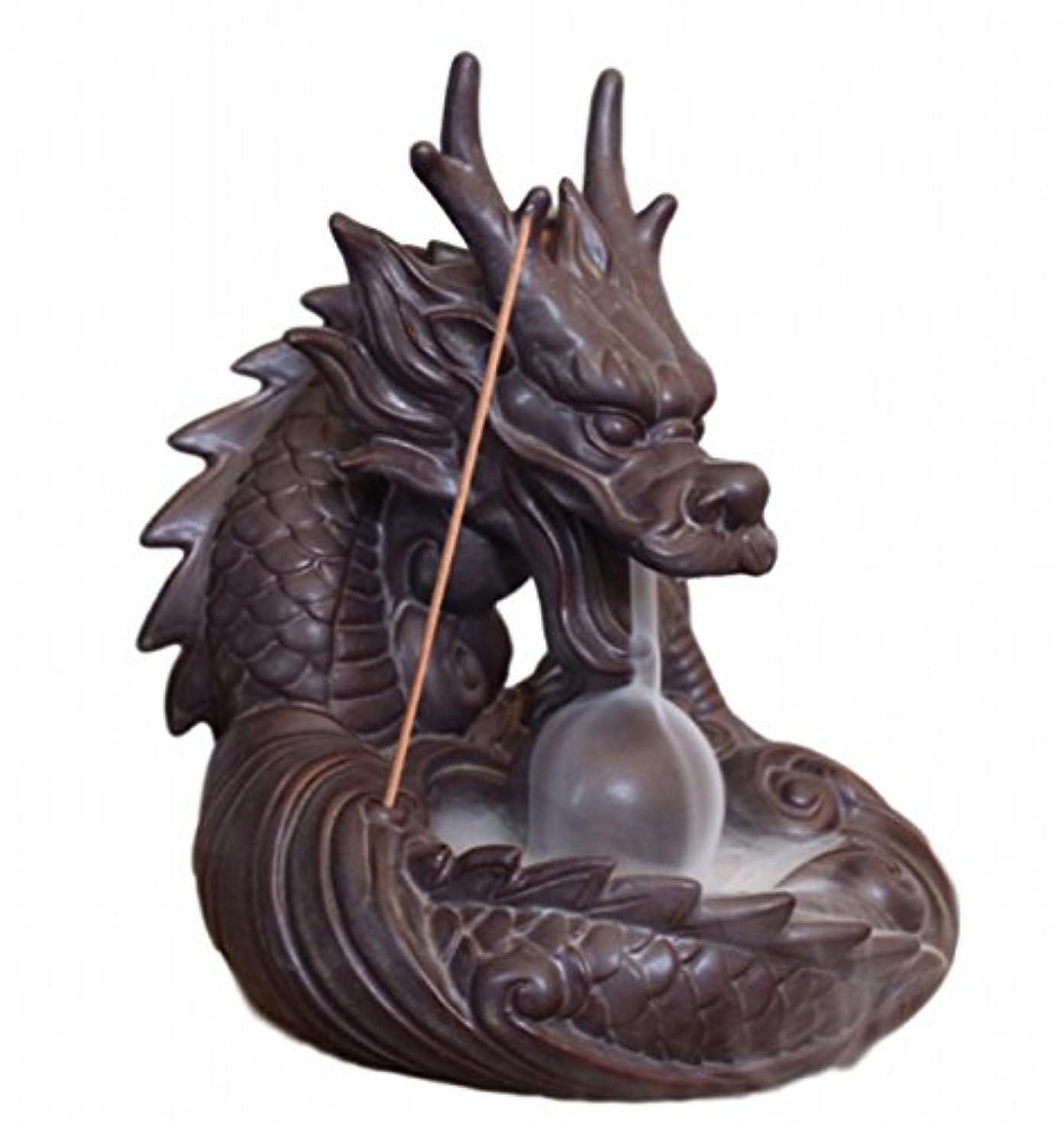 荒野接ぎ木水没【Rurumiマーケット】不思議なお香 倒流香 用 香炉 ドラゴン お試しお香付き 流川香 陶器製 (ドラゴンB)