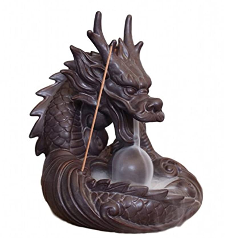 虚栄心トースト矩形【Rurumiマーケット】不思議なお香 倒流香 用 香炉 ドラゴン お試しお香付き 流川香 陶器製 (ドラゴンB)