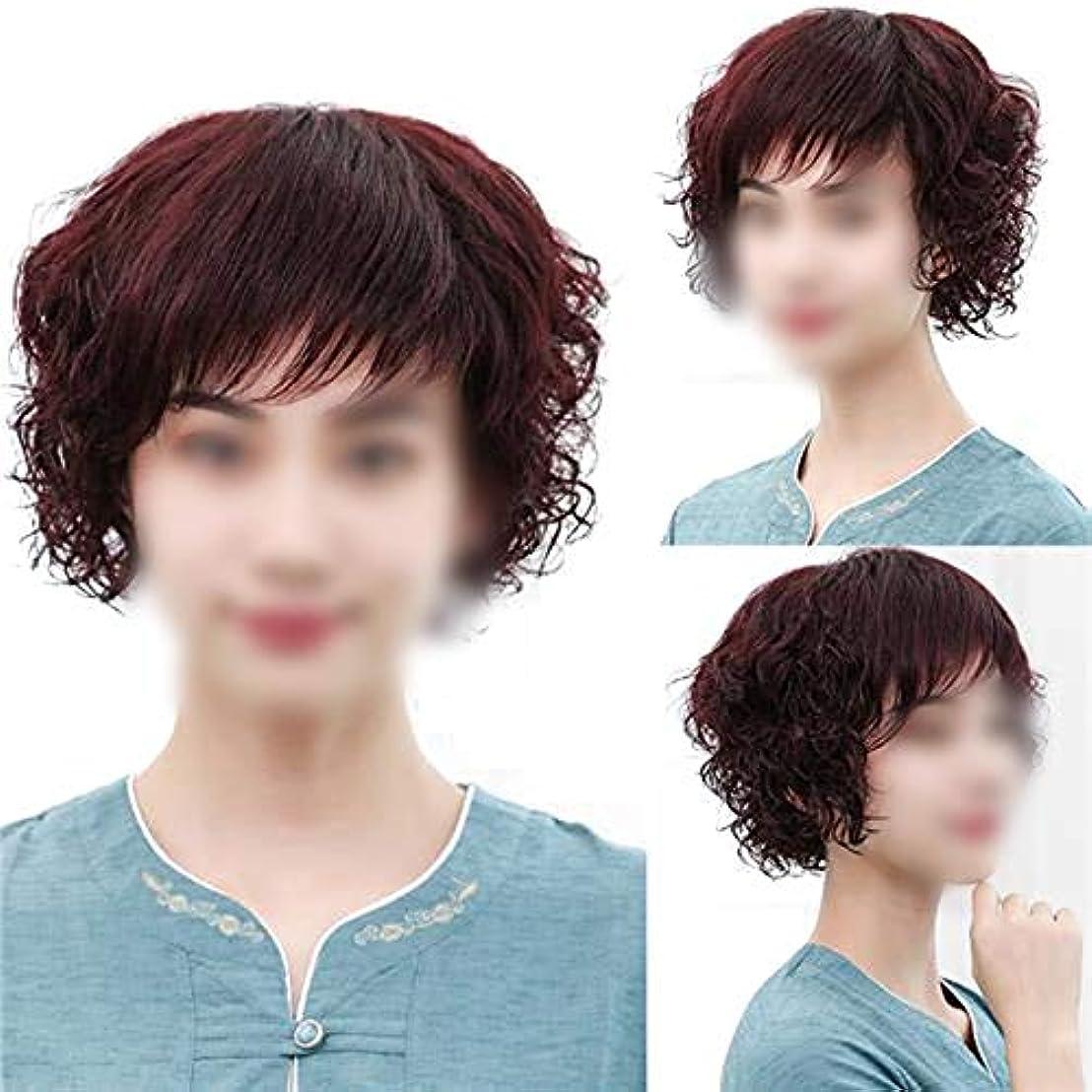 証明チキン意外YOUQIU フル手織り実髪ふわふわショートカーリーヘアウィッグ女性用かつらのリアルなナチュラルウィッグ中年 (色 : Dark brown)