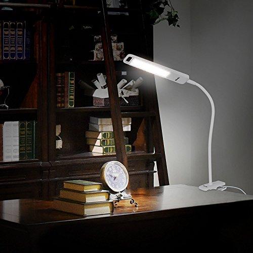 LEDデスクライト クリップライト テーブルライト LEDライト 多機能ライト 手持ちランプ 三段階調光 タッチパネル USB充電 非常用 作業 読書 照明 アウトドア 6W 1000mAH 取り外せるセード (ホワイト) albrillo LL-TL005