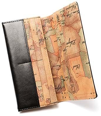 YUTTALIA 長財布 革製 メンズ 地図 柄 本革 レザー 革 男性 ヴィンテージ マップ 牛革 ブラック 黒