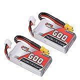2本 GAONENG リポバッテリー 600mAh 2S Li-po バッテリー 7.4V 35C XT30コネクタ FPVレーシングドローン