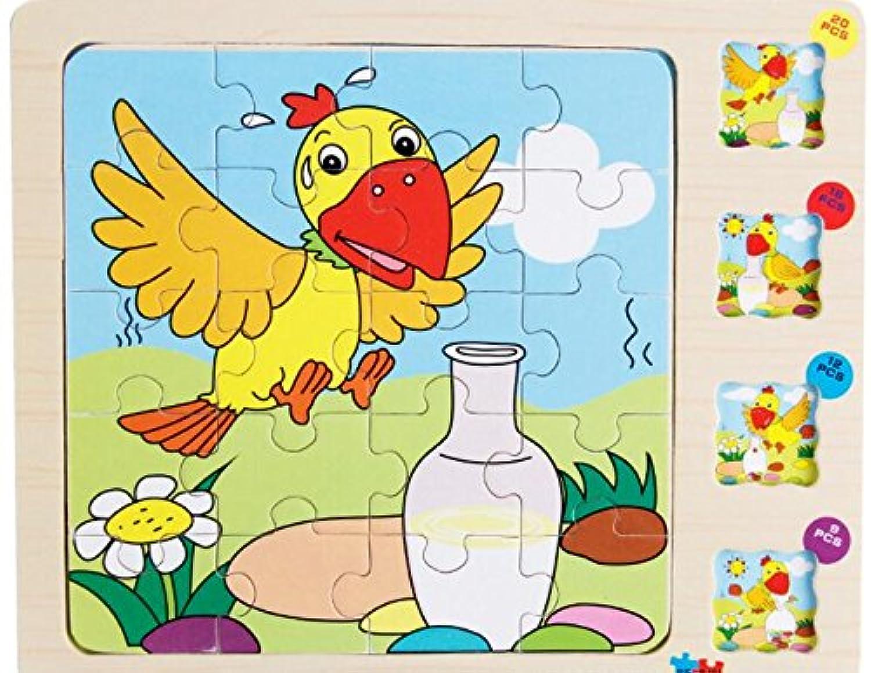 HuaQingPiJu-JP かわいい木の多層パズルアーリーラーニング番号の形の色の動物のおもちゃ子供のための素晴らしいギフト(カラス)