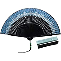 "JSSWB Lace Pattern 8.27""(21cm) Women Hand Held Folding Fans with Bamboo Frame - with a Fabric Sleeve for Protection for Gifts - Chinese/Japanese Vintage Retro Style (Blue)"