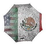アメリカとメキシコの融合した国境傘逆さ 逆さ傘 ブルー 逆転傘 日傘 遮光 遮熱 uvカット C型のハンドル 二重 晴雨兼用