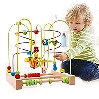 Techecho 円形ビーズ 迷路 おもちゃ かわいい昆虫 おもちゃ 木製ビーズ ローラーコースター ゲーム 3歳の女の子用 木製教育玩具