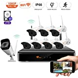 CORSEE Wireless Security Camera System, 8CH 1080P HD NVR with 8pcs 1080P WiFi Surveillance Camera, 100ft Night Vision, Built-in Microphone, Motion Detector, Live Remote View, 2TB HDD