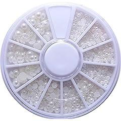 【jewel】半円ホワイトパール 3サイズ MIX ケース入り 2mm 3mm 4mm ネイル レジン