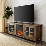 Walker Edison Furniture Company 70インチ ファームハウス 木製暖炉 テレビスタンド ガラスドア付...
