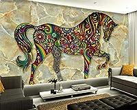 KAHSFA 3Dの壁紙3D壁紙審美的なカラフルな馬の大理石のテレビの背景装飾画リビングルームの寝室の壁画壁紙