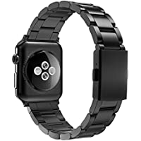 Simpeak Replacement for Apple Watch Band 38mm 40mm Women Men Stailess Steel Metal Band Strap for Apple Watch Series 4 Series 3, Series 2, Series 1, Black
