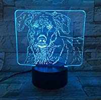 かわいいラブラドッグ3次元LED小夜灯台灯:赤ちゃん動物のウェihnactsges chenke Cookeは子供の7色のリモコン
