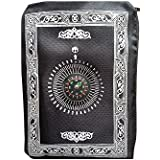 Desert Dress Muslim Portable Pocket Travel Prayer Mat Rug with Qibla Kaaba Compas in Pouch (Black)
