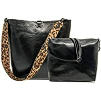 Women Leopard Print Bag Leather Tote Top Handle Big Shoulder Handbag Purse 2 Pcs