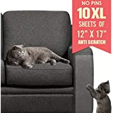 Ronton Cat Scratch Deterrent Tape - 12 in X 17 Anti Scratch Tape for Cats | 100% Transparent Clear Double Sided Training Tape | Pet & Kid Safe | Furniture, Couch, Door Protector (10 Sheet)