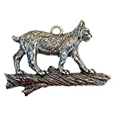 Majestic Bobcat Ornament Christmas Gift Hanging Lynx Cat Pewter Montana USA Made Holiday Gift [並行輸入品]