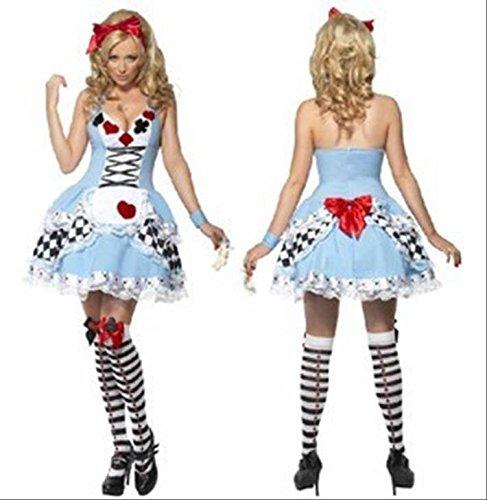 【Cos RuRu】ハロウィン コスプレ衣装 欧米メイド風 不思議の国のアリス風 トランプ模様 Halloween 欧米風ハロウィーン仮装 豪華3点セット CR1179