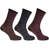 Mens Striped Multicoloured Socks (Pack Of 3)
