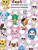 "Half Blank Half Lined Composition Notebook: Cartoon Animal.Bunny Rabbit Tiger Dog Snake Elephant Dragon Giraffe Chicken Cow Rat Mouse Duck White Pink Dot,Half Unruled paper Journal,Writing Painting Doodling Drawing,8.5x11"",100 Pages,For Kids,Teens."