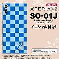 SO01J スマホケース XPERIA XZ ケース エクスペリア XZ イニシャル スクエア 青 nk-so01j-769ini E