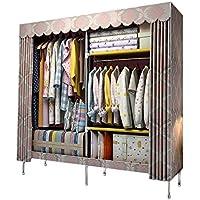 クローゼット ワードローブ カーテン式カバー付き 洗濯可能 組み立て式 防水 防塵 防汚 (ピンク)