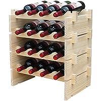 W1 木製 ワインラック 積み重ね式 ホルダー ワイン シャンパン ボトル ウッド 収納 ケース スタンド インテリア ディスプレイ 1,2,3,4段から選べる (16本用収納・4段)
