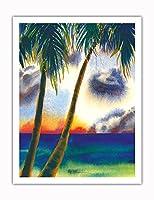 空中に音楽があります - ハワイアンサンセット - オリジナルハワイ水彩画から によって作成された ペギー チュン - アートポスター - 51cm x 66cm