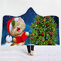 フード付き毛布3dデジタル印刷大人の子供の色の豪華なフード付き毛布スーパーファイバービーチブランケットmsのマットのショール極細繊維 ハロウィーンのクリスマスプレゼント,150Cm*200Cm