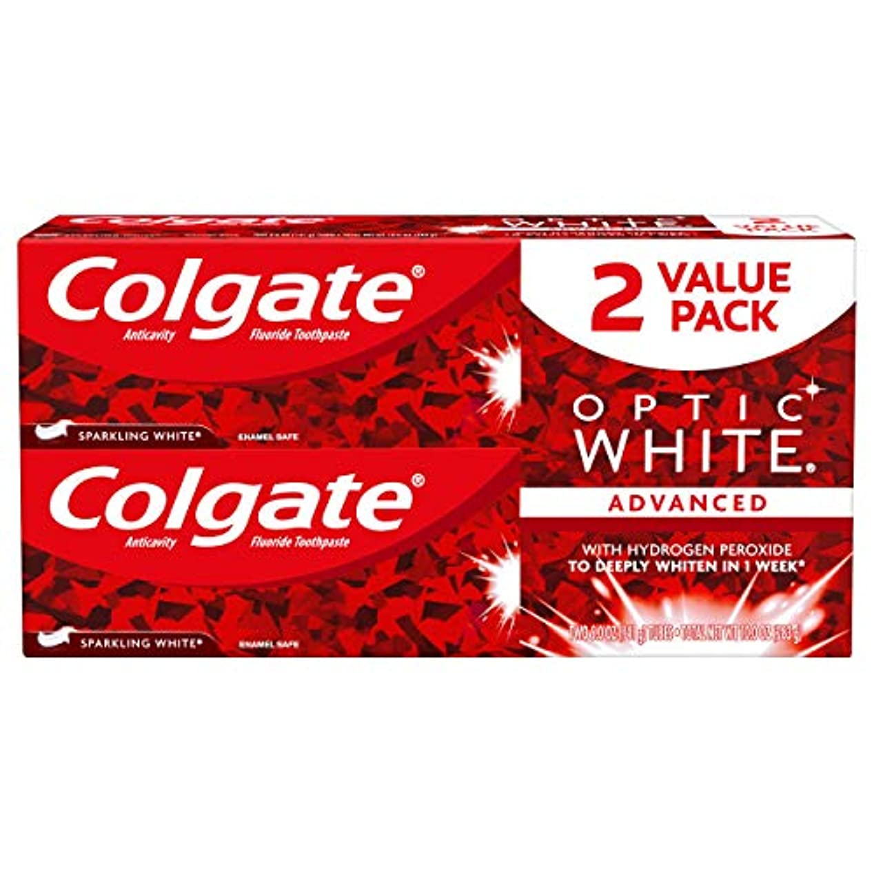 注釈を付ける呪われためまいColgate オプティックホワイト虫歯予防フッ素歯磨きスパークリングミント - 2 PK