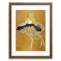 アンリ・ド・トゥールーズ=ロートレック Henri Marie Raymond de Toulouse-Lautrec-Monfa 「Yvette Guilbert sings Linger Longer Loo」 額装アート作品