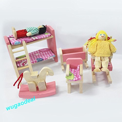 Shalleen 1xKids bedroom Wooden Doll House Dollhouse Furniture SET Miniature 6 Rooms Set 4/6 DOLLS
