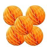 Happy Spring ハニカム ボール 5個 セット オレンジ (25cm, 橙)