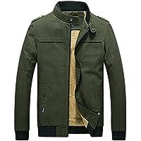 chouyatou Men's Winter Full Zip Heavy-Weight Sherpa Lined Casual Bomber Jacket