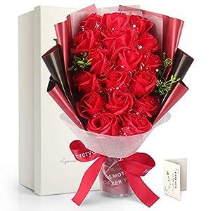 FAUHAL 純潔な色、灼熱な赤い、17枚花びらが自然に満開している姿が生き生き、強烈な気持ちを伝えるバラ。ソープフラワー シャボンフラワー 枯れない花 石鹸花 花 造花 花束 ブーケ 创意プレゼント お礼用の包装やメッセージカード付き プレゼントとして、誕生日、母の日、クリスマス、バレンタインデー、昇進 、転居、還暦、元旦、送別会、お見舞い、結婚やクリスマス等色々な場所で活躍できる。