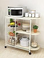 フロアスタンドポットラックキッチン用品収納棚多層鉄製電子レンジオーブンラック2つのベース ( 色 : Style 2- Wheels )